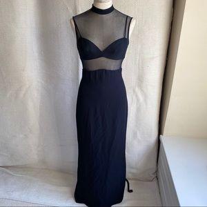 Vintage 90s S Neiman Marcus Sheer Mesh Long Dress